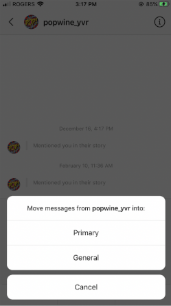 option to move messages from @popwine_yvr into Primary or General