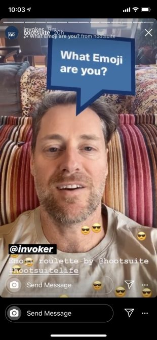 Instagram Story of Hootsuite CEO, Ryan Holmes, using the Emoji Roulette Instagram AR filter